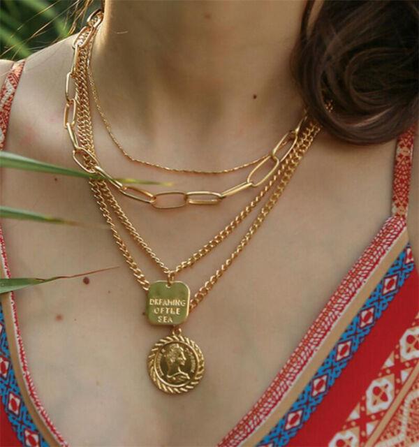 e93d5f92e094 Retro Ethnic Gypsy Bohemian Tribal Boho Coin Statement Necklace Pendant  Gift New