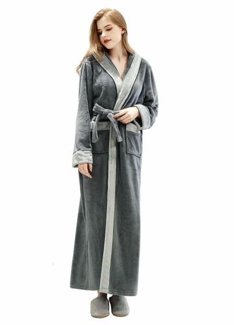 Grey Womens Long Robe with Hooded Full Length Soft Plush Ladies Bathrobe