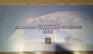 Canada 2000 Millennium Quarter Set UNC. - Complete In Case ~12 Coins + Medallion