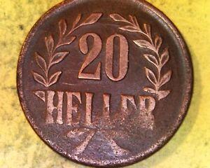 20-Heller-1916-t-schmale-Krone-je-1-Blatt-unter-Heller-Kupfer-1-Jaeger-727-a