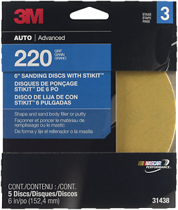 3M 220 Grit Sandpaper Disc 5 discs 31438 6in//po