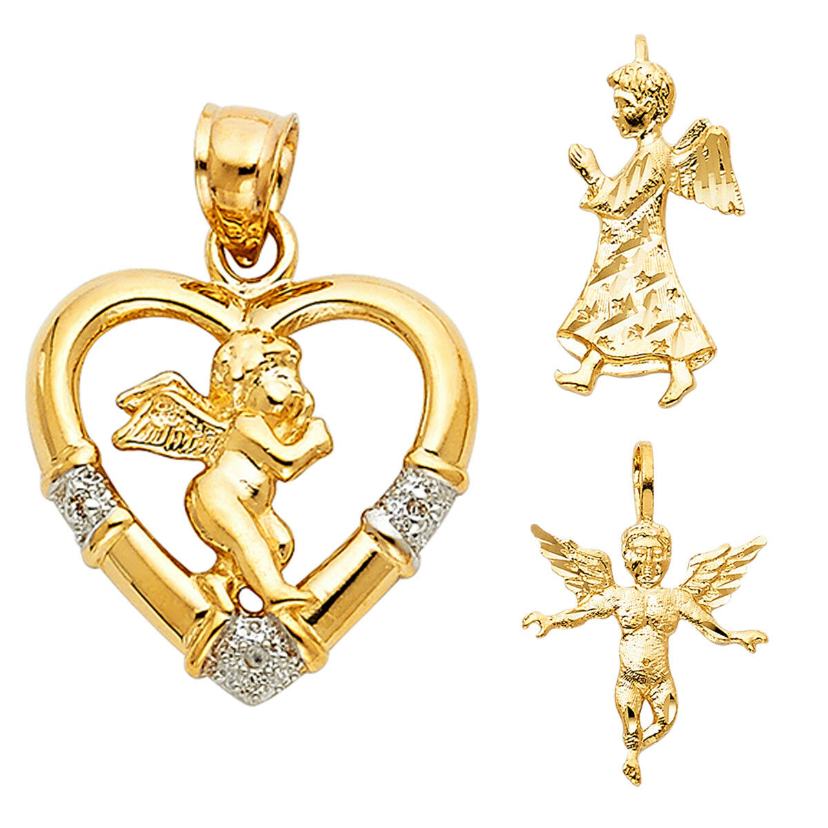 14K Yellow gold CZ Religious Angel Pendant For Women Men Pendant Collection