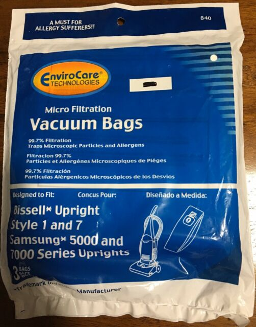 Bissell Vacuum Cleaner Bags Style 1 & 7 Samsung Uprights 5000, 7000 EnviroCare