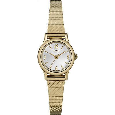 Timex Women's   Gold Tone Case & Strap White Dial   Classic Dress Watch T2P300