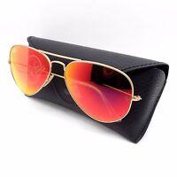 Ray Ban Sunglasses 3025 112/69 Matte Gold Orange Mirror Guaranteed Authentic