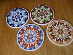 Set-of-4-Handmade-Greek-Ceramic-Coasters-Multicolored-Geometric-Floral