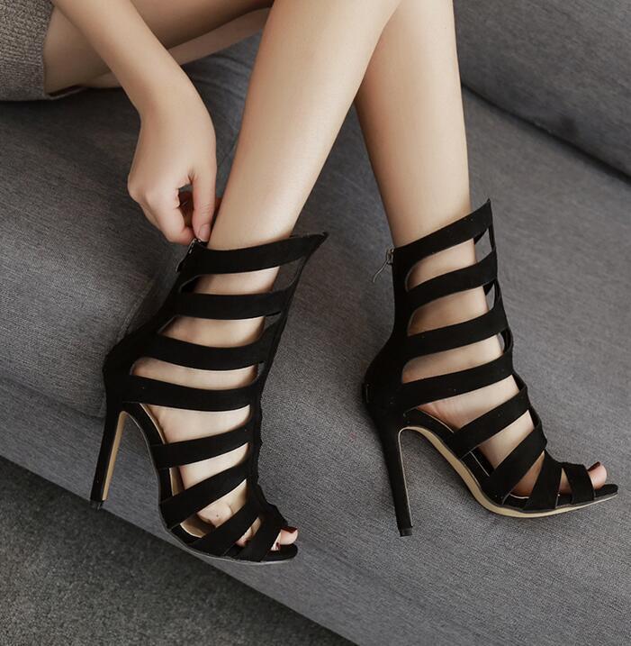 Femmes talons hauts Hollow Gladiator Back Zip Stiletto bottes Open Toe Sexy Sandals