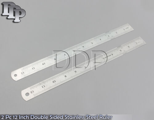 New Double Sided Stainless Steel Measuring Ruler 12 Inch 30cm Metric 2