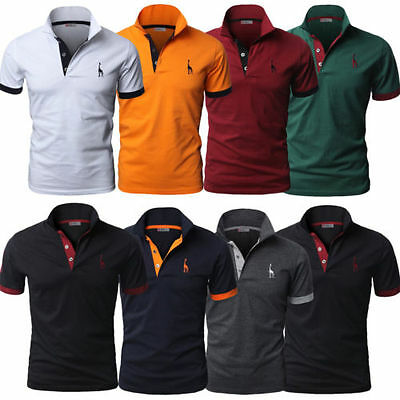 Mens Slim Fit Short Sleeves Polo Shirt Tops Stylish Designed Casual Work T-shirt