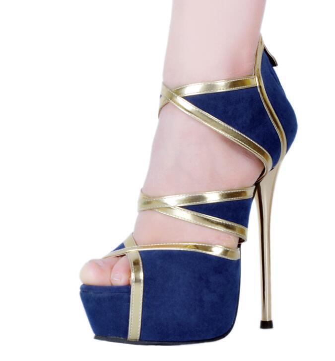 Sexy Women Sandals Open Toe High Heels Sandals bluee shoes Woman Plus Size 4-20