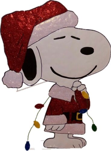 """32/"""" Peanuts Snoopy in Santa Suit Hammered Metal Christmas Decoration"""