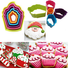 5* Cupcake Shaped Cookie Cutters Biscuit Pastry Baking Multi Colored X'mas New