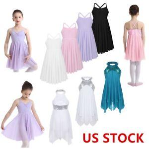 US-Girls-Gymnastics-Ballet-Dress-Kids-Sequins-Lyrical-Ballroom-Leotard-Dancewear