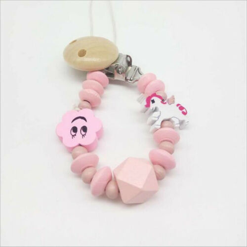1pcs safety Wooden Cartoon Baby pacifier chain Mix Beaded Baby Feeding Clips