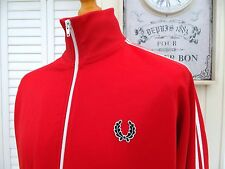FRED PERRY Rosso TWIN CON NASTRO Harrington Track Jacket-L/XL-SKA MOD Scooter Skins