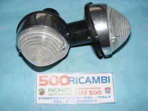 FIAT-500-D-COPPIA-FANALE-FANALINO-ANTERIORE-COMPLETI-BIANCO-CON-BASE-ALLUMINIO