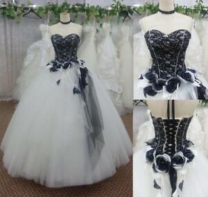 Details about Vintage Black and White Wedding Dress Lace Flower Bridal Gown  Custom Plus Size