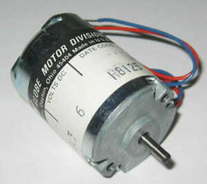 """TRW Globe 405A 4500 RPM Motor - 6 V DC - Permanent Magnet - Made in USA 8"""" Leads"""