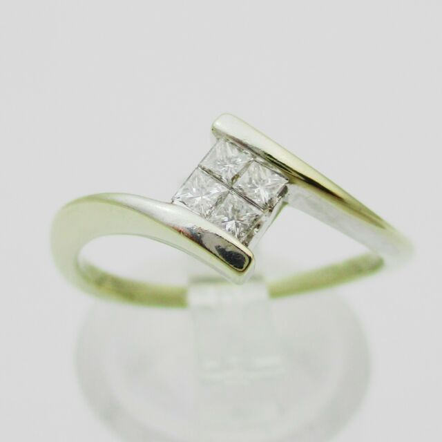 Elegante 18 Ct Oro Blanco Y Diamantes Anillo 0.15 Quilates. Tamaño L1/2