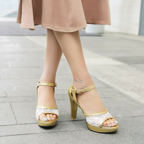 Details about  /Women Mesh Ankle Strap Casual Sandals Open Toe Block High Heel Party Prom Shoes