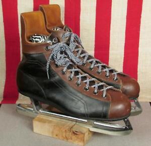 Vintage 1960s CCM Leather 2-Tone Ice Hockey Skates Mens Size 11.5 ... e811a4671