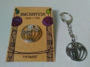 Charles Rennie Mackintosh Circular Rose Pewter Keying And Pin Badge Gift Set