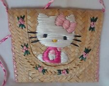 HELLO KITTY Embroidered Straw Purse - RARE