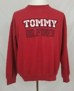 Tommy-Jeans-Mens-XL-Crew-Neck-Sweatshirt-Red-Pullover-Hilfiger-TH-Spell-Out