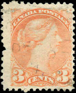 Canada-Used-1873-3c-F-VF-Scott-37-Small-Queen-Stamp