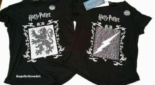 Primark Black Short Sleeved Top T-Shirt for Girls 2 Ways Sequins Harry Potter