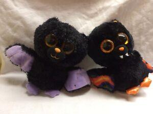 """Ty Beanie Boo Bat Swoops Scarem Purple 6"""" Lot x2 Purple Orange Glitter"""