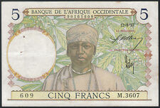 TMM* 1937 French West Africa Banknote 5 Francs P21 EF pinholes