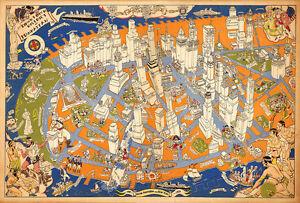 Downtown District of Manhattan 1938 75cm x 51cm Quality Art Print