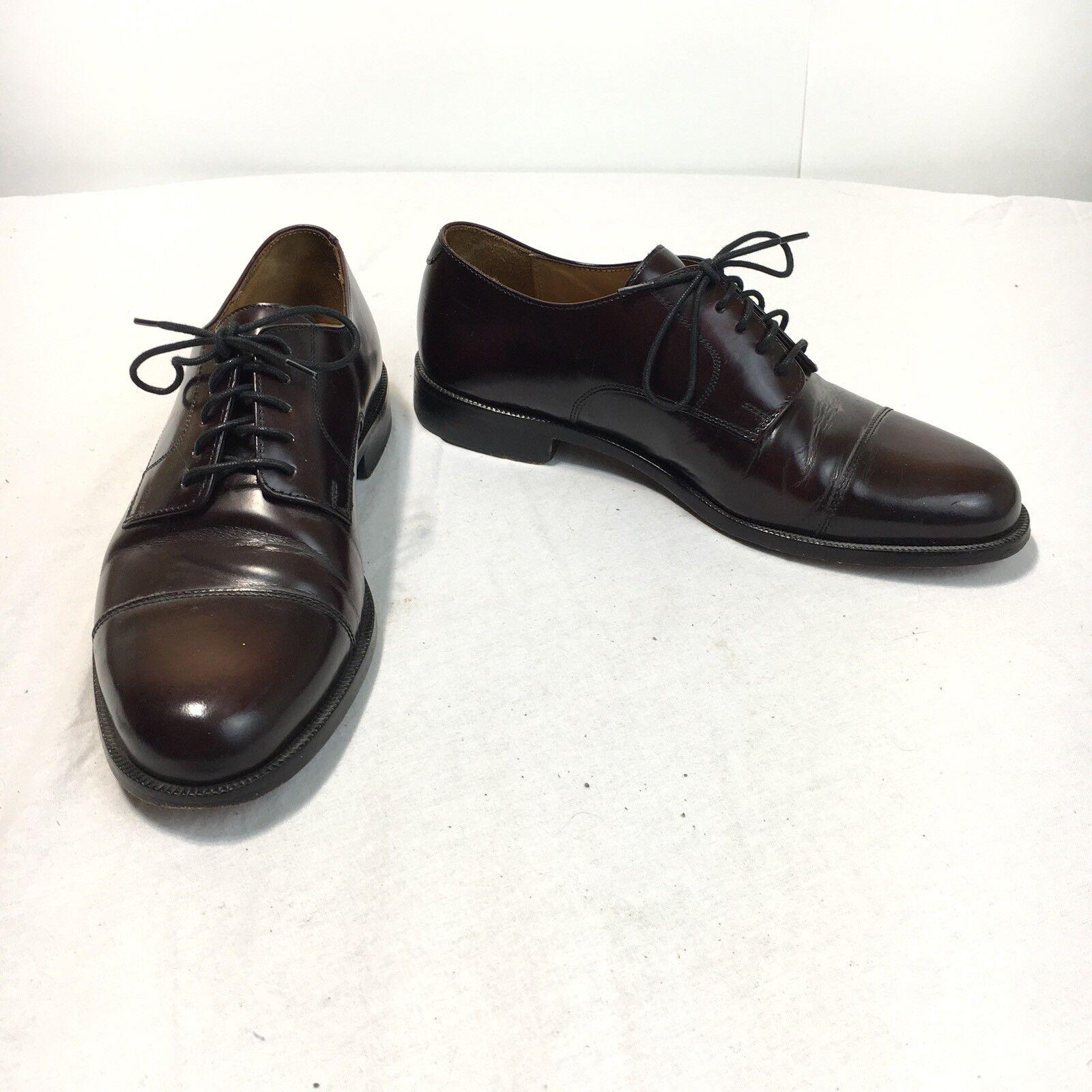Cole Haan Men's 8.5 D Dark Burgundy Leather Cap Toe Lace Up Oxford Dress shoes