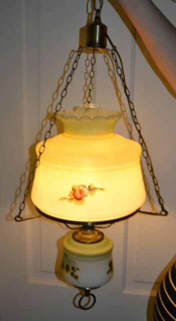 VINTAGE HANGING SWAG GONE WITH THE WIND HURRICANE VICTORIAN LAMP ~ ROSES
