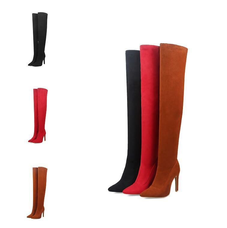 Womens Suede Stilettos Pointy Toe Side Zip High Heel Over Knee High Boots Casual