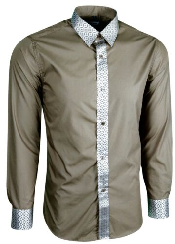 318 MENS PARTY DRESS WEDDING WITH SHINY TRIMS ON COLLAR /& CUFFS SHIRT £18.99