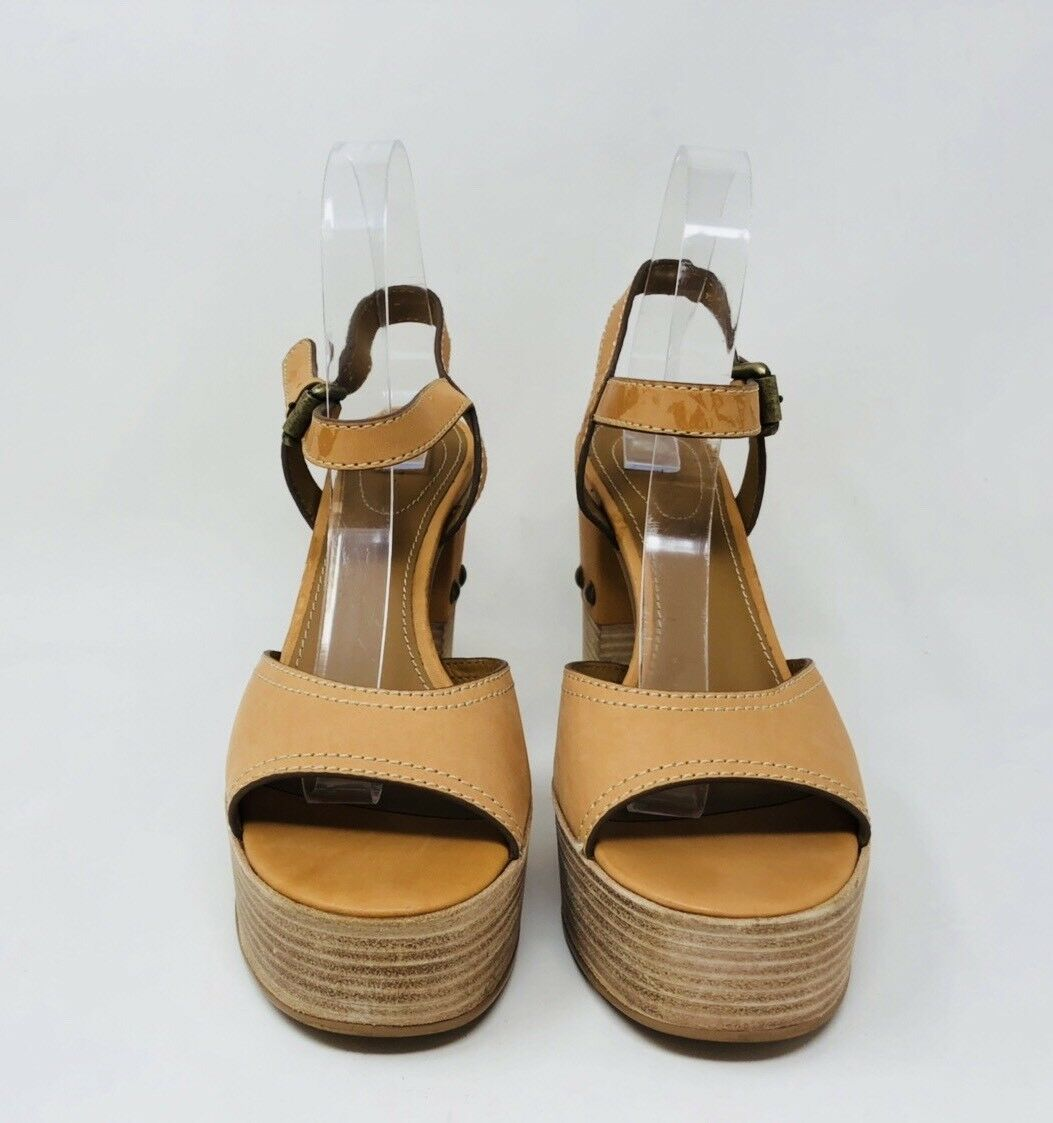 SEE BY CHLOÉ Women's Platform Peep Toe Sandals Size 40 40 40 Tan Leather 183402