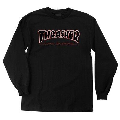 Independent x Thrasher TIME TO GRIND Skateboard T Shirt BLACK MEDIUM