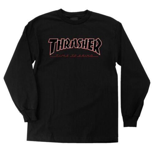 Independent x Thrasher TIME TO GRIND LONG SLEEVE Skateboard T Shirt BLACK MEDIUM