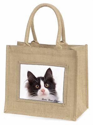 schwarz weiße Katze ' Liebe, die sie Mama 'Große natürliche jute-einkaufstasche