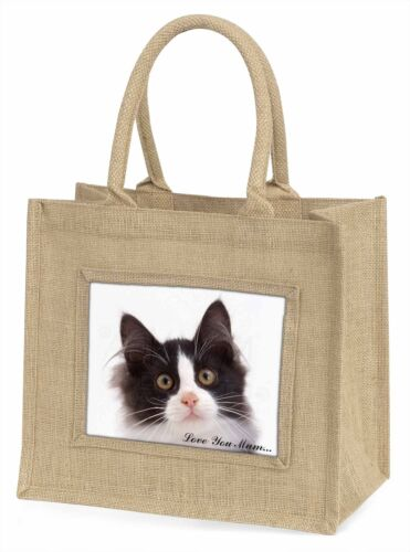 Black White Cat 'Love You Mum' Large Natural Jute Shopping Bag Chr, AC200lymBLN