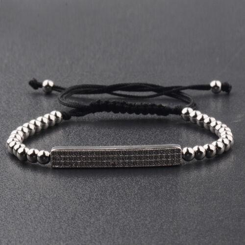 2019 Micro Pave Hommes filles cz Perles Bracelets or tressé Charme Noir 4 Mm Perles
