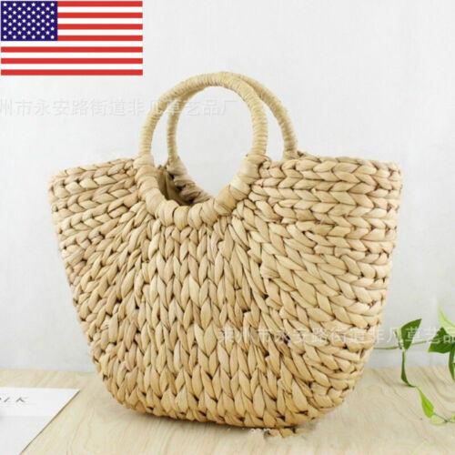 Lady Wicker Handbag Bags Totes Beach Straw Woven Summer Rattan Basket Retro