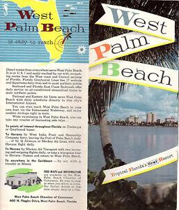 Details About West Palm Beach Florida Vintage 1950 S 60 Travel Brochure Color Photos
