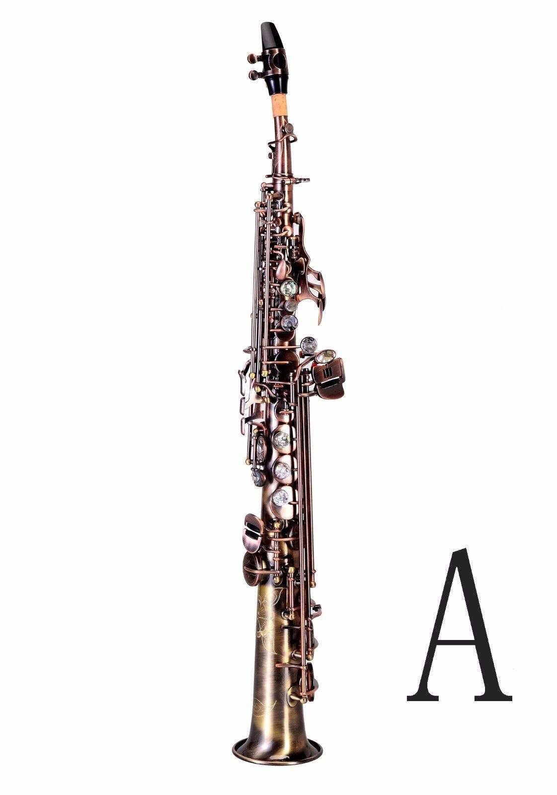 100% New Professional Bb antiquierte rot Brass Soprano Saxophon mit Case