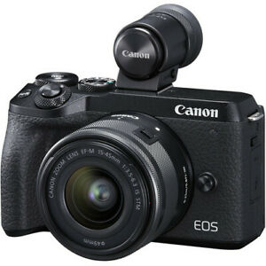 Canon EOS M6 II 15-45mm IS STM EVF-DC2 Black (Multi) no extra cost New