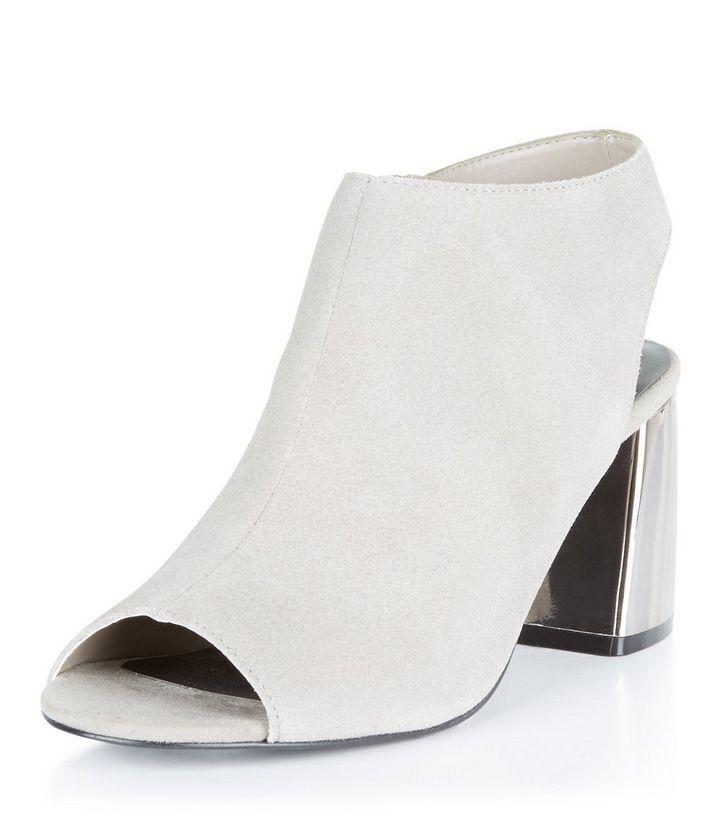 New Look Grey Suedette Peep Toe Flared Block Heel Boots UK 3 EU 36 JS086 FF 07