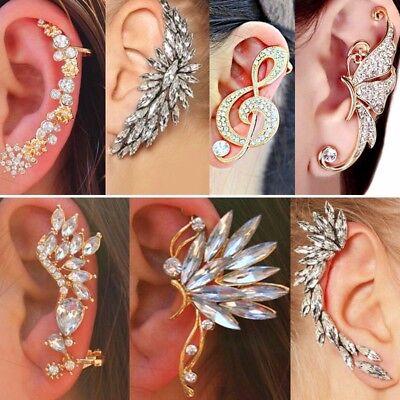 Être Fashion Crystal clip oreille Cuff Stud Femmes Punk Wrap Cartilage Boucle d/'oreille Bijoux