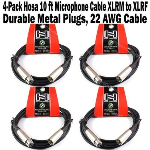4-Pack Hosa 10 ft Microphone Cable 3-Pin XLR Male to Female 22AWG Mic Cord NEW